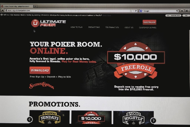 The home page for Ultimate Poker by the company Ultimate Gaming is seen on a computer screen at the company's headquarters, Monday, April 29, 2013, in Las Vegas.