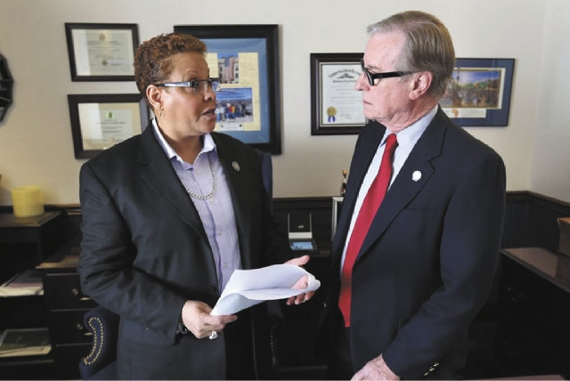 """Nevada Senate Democrat Patricia Spearman, left, is shown here with Sen.David Parks. Spearman sponsored Senate Bill 139, the transgender """"hate crime"""" bill, which was approved by the Assembly today. ..."""
