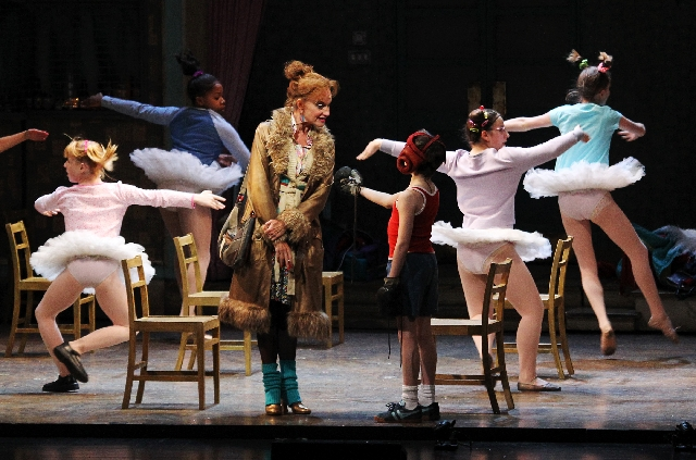 Janet Dickinson plays Mrs. Wilkinson and 12-year-old Mitchell Tobin plays Billy Elliot on opening night of the musical at The Smith Center for the Performing Arts.