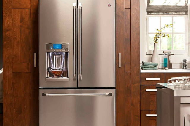 General Electric's new Café French door refrigerator has a variety of innovative features including a cold and hot water dispenser in the door and temperature-controlled drawer.