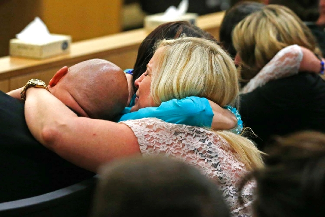 Family and friends of Travis Alexander, the one-time boyfriend of Jodi Arias, react after Arias was found guilty of his killing on May 8 in Phoenix. The jury had to decide between first-degree mur ...