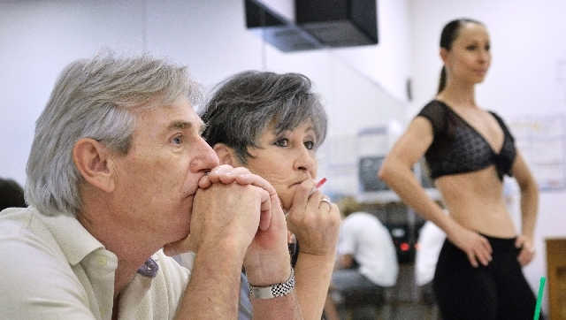"Chip Croop, executive director of entertainment for the Treasure Island, and Kim Cornell-Lyle, production manager for ""Sirens of TI,"" watch performers trying out for the show  with line captain An ..."