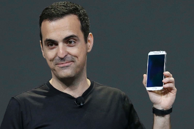 Hugo Barra, vice president, Android Product Management at Google, holds a Samsung Galaxy S4 u201CGoogle Editionu201D while speaking at Google I/O 2013 in San Francisco on Wednesday.