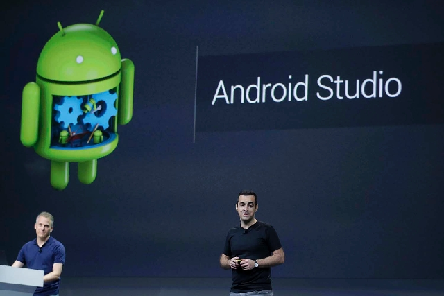 Hugo Barra, vice president, Android Product Management at Google, speaks about Android Studio at Google I/O 2013 in San Francisco on Wednesday.