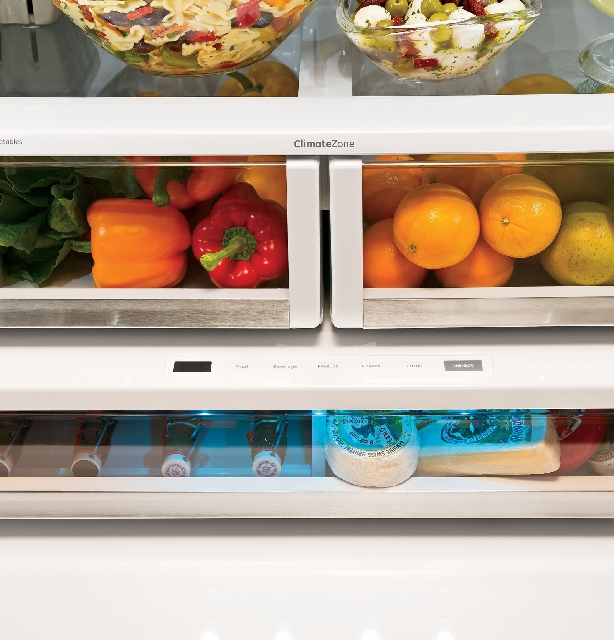 General Electric's new Café French door refrigerator has a temperature-controlled drawer with colored light-emitting diode lighting that indicates its setting.