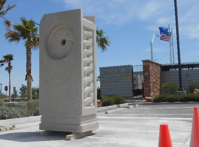 """Sculptor Patrick Sullivan's """"Motion"""" sits outside the Regional Transportation Commission of Southern Nevada's Centennial Hills Transit Center Park and Ride, 7313 Grand Montecito Parkway. Sullivan, ..."""