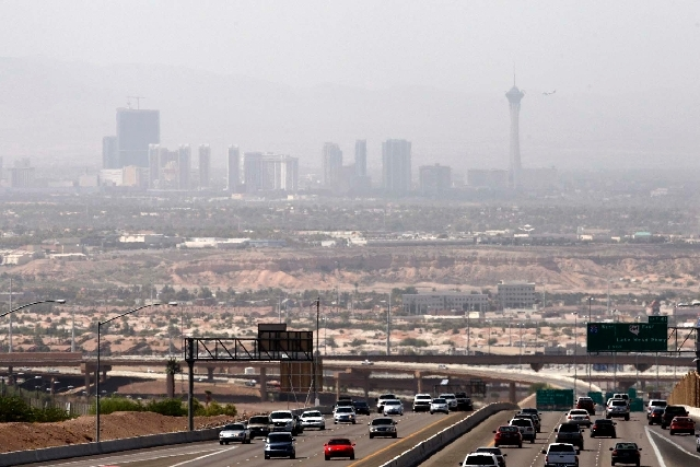 This file photo from Aug. 19, 2011, shows a haze over the north end of the Las Vegas Strip as seen from Henderson. An air quality advisory has been issued as high winds are expected to blow dust a ...