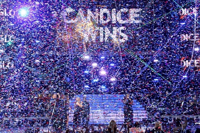 "Candice Glover reacts on stage after she is announced the winner at the ""American Idol"" finale at the Nokia Theatre at L.A. Live on Thursday in Los Angeles."