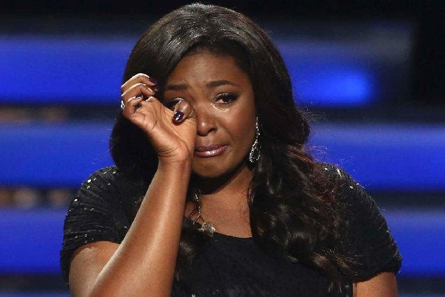 "Winner Candice Glover reacts at the ""American Idol"" finale at the Nokia Theatre at L.A. Live on Thursday in Los Angeles."
