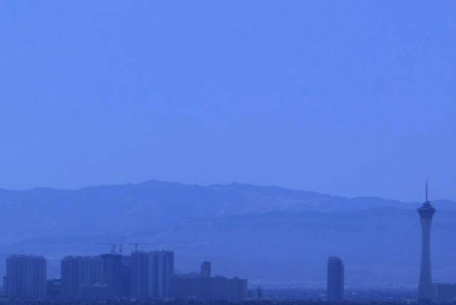 The Las Vegas Strip is silhouetted behind a film of haze in this 2008 file photo.