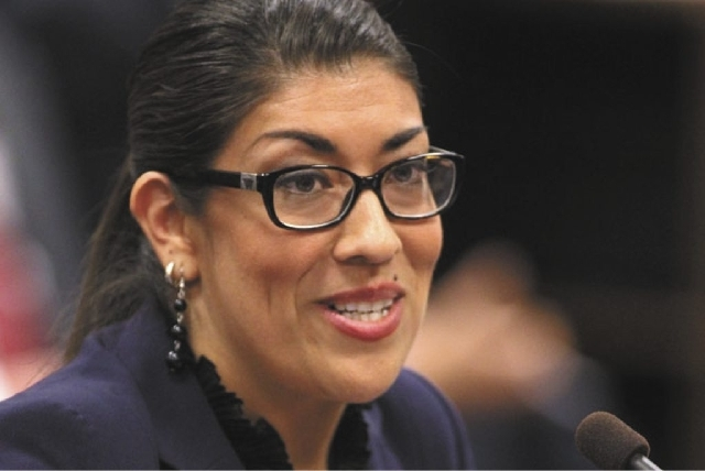 Nevada Assemblywoman Lucy Flores testifies in committee Friday about her measure to domestic violence victims a way to terminate housing leases.