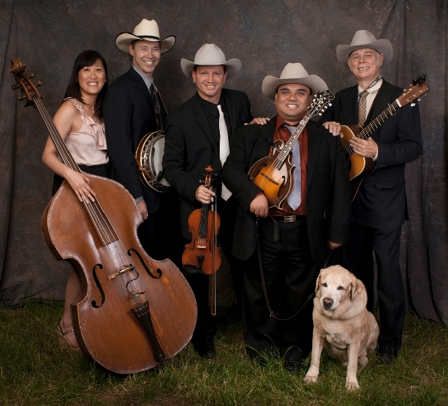 Lonesome Otis features, from left, Celeste Cerna on bass, Gilbert Hancock on banjo, Steve Stout on fiddle, Chris Cerna on mandolin and Chris Ruud on guitar.