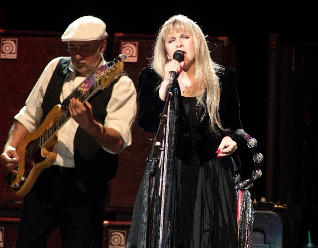 John McVie and Stevie Nicks of Fleetwood Mac perform during the band's Fleetwood Mac 2013 Live Tour at the Wells Fargo Center on April 6 in Philadelphia.