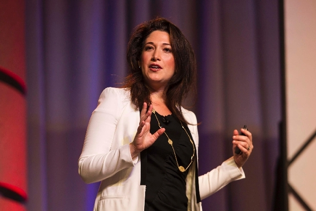 Randi Zuckerberg, former marketing director of Facebook and founder of Zuckerberg Media, speaks to the audience Monday during RECon at the Las Vegas Convention Center.