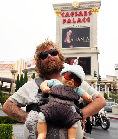 "Brian Petre, portraying Alan from ""The Hangover,"" poses Friday at Caesars Palace on the Strip."