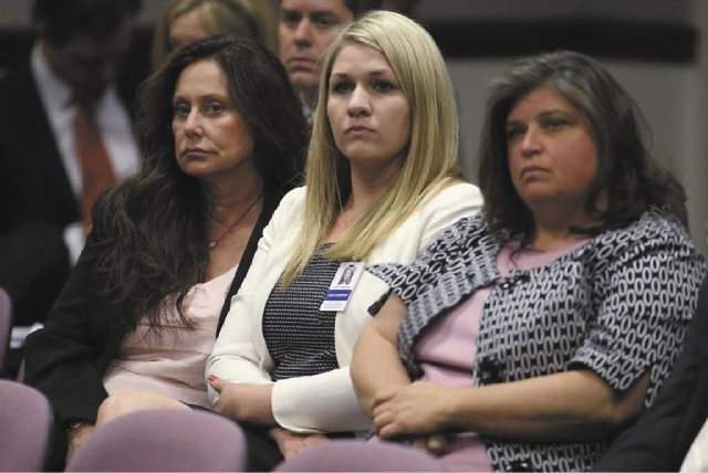 From left, Brianna Denison's mother Bridgettte Zunino-Denison, legislative staffer Cathy Erskine and Lauren Denison listen to committee debate over a bill that would require a DNA sample be taken  ...