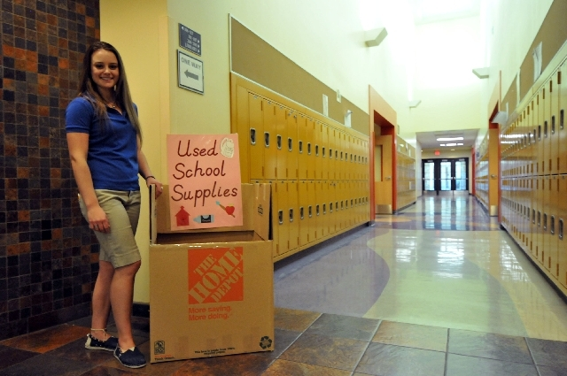 Summerlin resident and Bishop Gorman High School sophomore Erica Korbel, 16, placed collection boxes for used school supplies throughout her school's hallways, May 20. Korbel has been collecting s ...
