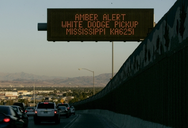 An Amber Alert appears on a message board on southbound U.S. 95 in this 2008 file photo. Starting Wednesday, the Nevada Department of Transportation is planning to begin posting messages on the bo ...
