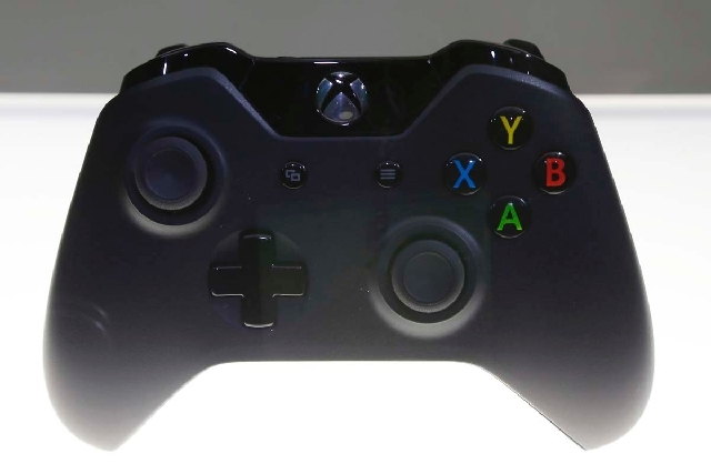 A controller for Microsoft Corp.'s Xbox One entertainment and gaming console system is on display after its unveiling Tuesday.