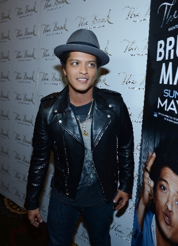 Bruno Mars was on the scene Saturday at Bellagio's Bank.