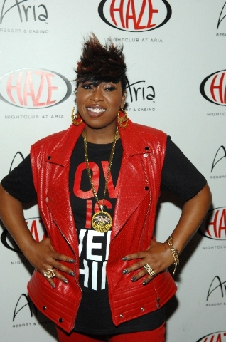 Missy Elliott rapped Thursday at Aria's Haze nightclub.