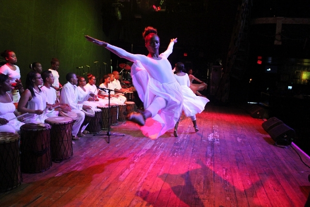 West Las Vegas Arts Ensemble dancer Aliyha Crawford leaps across the stage at the House of Blues at Mandalay Bay. Crawford is set to join more than a dozen other ensemble members for performances  ...