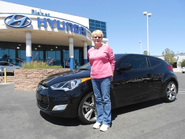 Grace Pelino said she loves her 2013 Hyundai Veloster purchased from Planet Hyundai Sahara. She and her husband have owned five Hyundais in the past several years.
