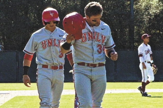 UNLV first baseman Pat Armstrong, right, shown with brother Joey, is the Rebels' leading hitter this season with a .393 batting average. He's hit seven home runs in the past three weeks, helping U ...