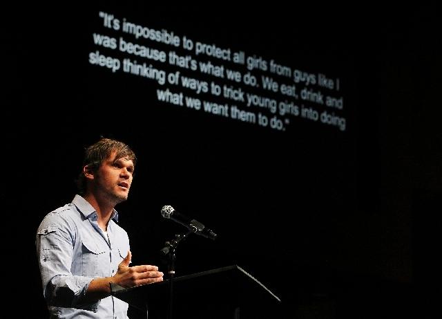 Pastor Drew Moore speaks during an April 26 Human Trafficking Family Forum at Canyon Ridge Christian Church in Las Vegas.