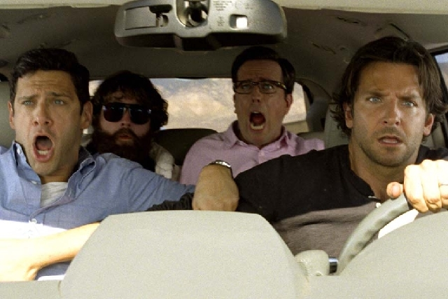 """The Hangover Part III"" features the return of, from left, Justin Bartha as Doug, Zach Galifianakis as Alan, Ed Helms as Stu and Bradley Cooper as Phil."