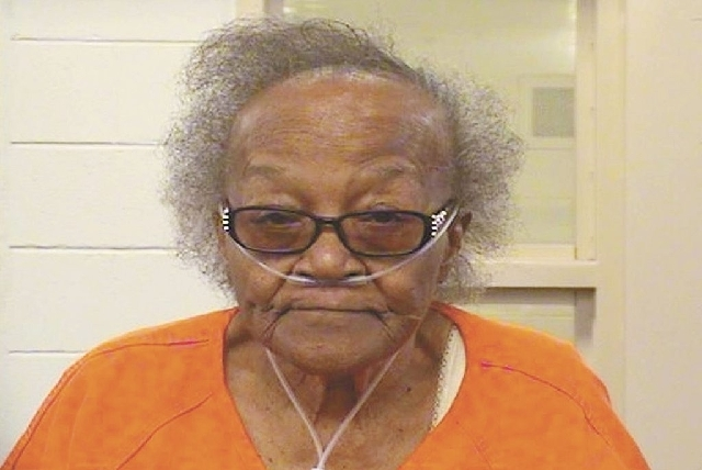 This updated photo provided Thursday by the Bernalillo County Sheriff, shows Lillie Smith, 84, following her arrest in April on drug trafficking charges in Albuquerque, N.M. Smith was recently ind ...