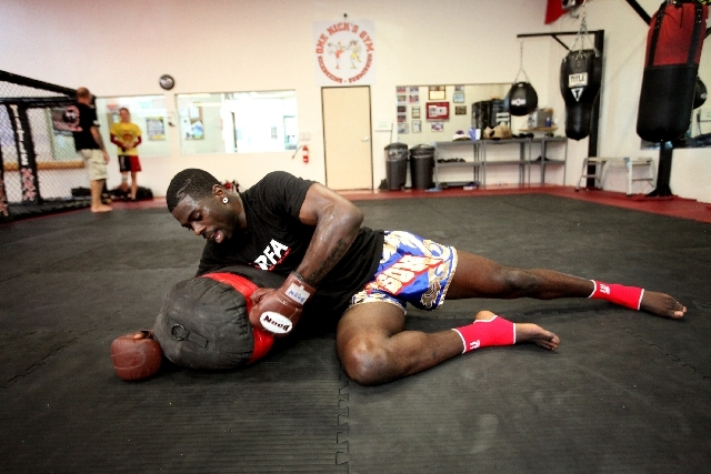 Mixed martial arts fighter Chidi Njokuani trains at One Kick's Gym in Las Vegas on May 23. Njokuani is with Resurrection Fighting Alliance, which serves as a feeder developmental league for fighte ...