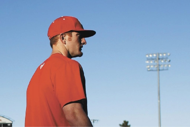 UNLV outfielder Brandon Bayardi, shown here practicing in February, hit a grand slam to lead UNLV to a win over San Diego State in the first round of the MWC Tournament on Thursday.