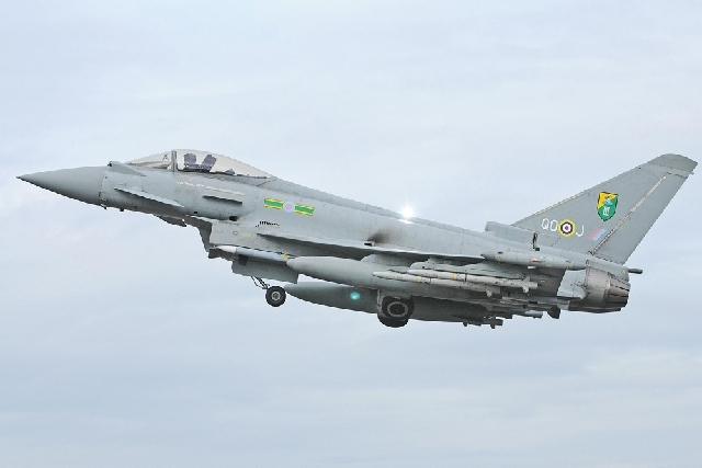 An RAF Typhoon Aircraft such as this has escorted a passenger plane into Stansted Airport in southern England following an incident on board Friday. British media reported the flight was a Pakista ...