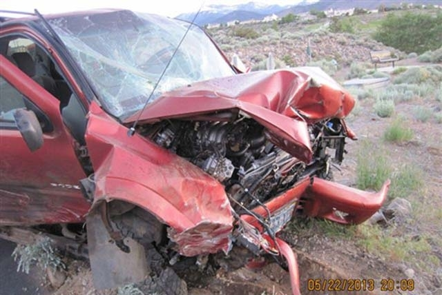 The driver of an SUV died after crashing into a boulder in the back yard of a Reno home on Wednesday. Randell Mercado, 21, was driving at a high rate of speed, the Washoe County Sheriff's Office r ...