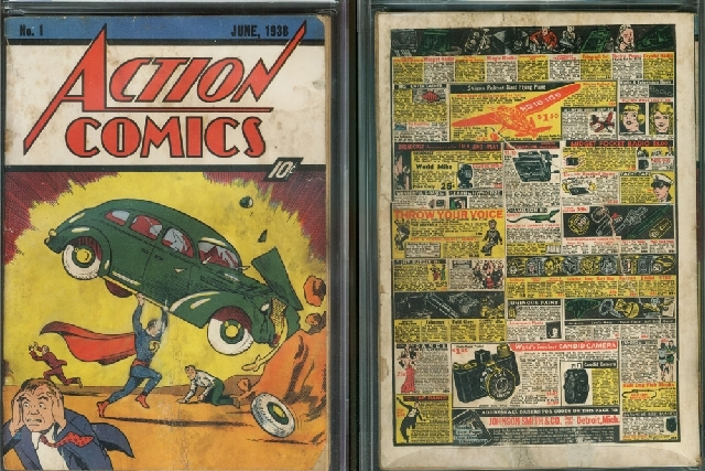 """This image provided by Metropolis Collectibles/ComicConnect, Corp., shows the front and back cover of """"Action Comics No. 1"""" from 1938, featuring the debut of Superman, that was found by David Gonz ..."""