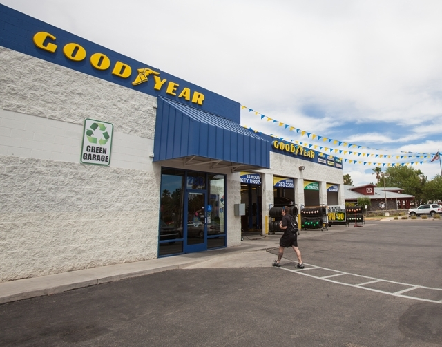 The exterior of the Goodyear store at 2120 E. Warm Springs Road in Henderson is pictured May 21.