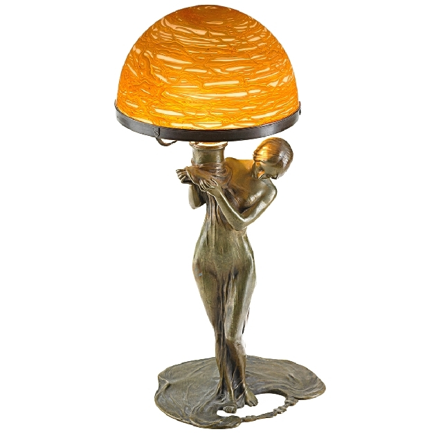This Lamp Created From A Figure Of Bronze Woman And An Iridescent Gold Gl