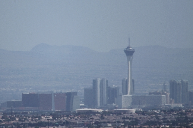 A May 24 view of the Las Vegas Valley looked familiar Monday as air quality advisories were issued, effective through Tuesday. The cause is smoke and haze floating in from wildfires in nearby Love ...