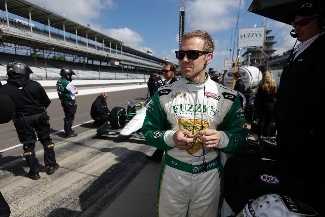 Ed Carpenter waits for the start of the final practice session for Sunday's Indianapolis 500 at Indianapolis Motor Speedway on Friday.