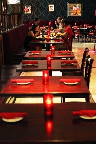 Patrons dine as Firefly opens their new location at 3824 Paradise Road in Las Vegas on Friday.