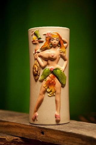 The Polynesian girl tiki mug was designed by Dirk Vermin.
