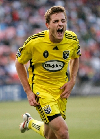 Columbus Crew's Robbie Rogers celebrates after scoring against the San Jose Earthquakes during the second half of an MLS soccer match in San Francisco in 2009.