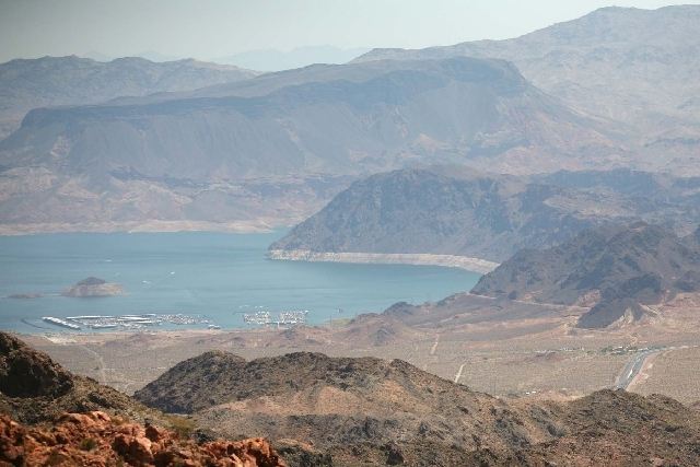 Lake Mead National Recreation Area, seen from Bootleg Canyon park in Boulder City, experienced some hazy conditions Saturday.