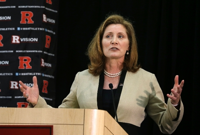 Rutgers Athletic Director Julie Hermann speaks at a press conference on Wednesday.