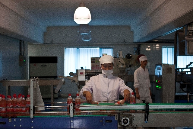 A North Korean factory worker sorts bottles at a snack food factory in Pyongyang, North Korea on Oct. 9, 2011.
