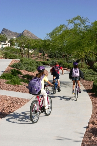 The award-winning Summerlin trail system connects neighborhoods and gives residents 150 miles of space to safely walk, run or cycle to parks, schools and shopping areas in the master-planned commu ...