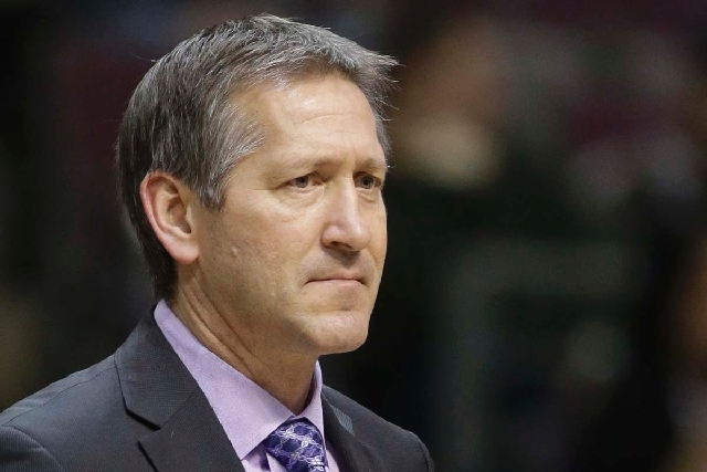 Utah Jazz assistant coach Jeff Hornacek is seen on the sidelines during the second half of an NBA basketball game on Jan. 12 against the Detroit Pistons at the Palace of Auburn Hills, Mich. The Ph ...