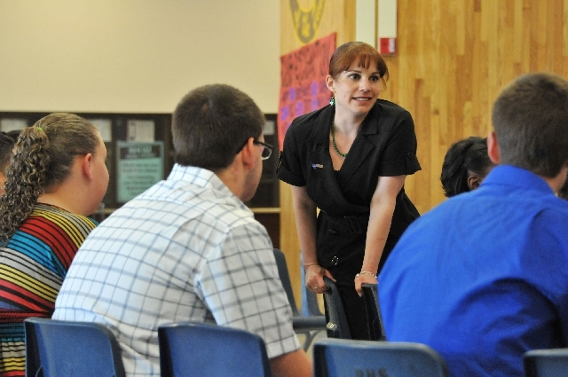 Heather Parkyn, a teacher in the Jobs for America's Graduates program, or JAG, addresses her students before a May 15 ceremony at Bonanza High School, 6665 Del Rey Ave. About 40 students at Bonanz ...