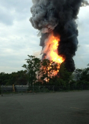 This photo provided by Dale Walston, shows an explosion outside Baltimore on Tuesday. Baltimore County fire officials say a train derailed in a Baltimore suburb on Tuesday and an explosion was hea ...
